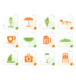stylized beach and holiday icons vector image vector image