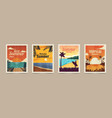 summer tropical cards vacation posters in retro vector image