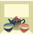 teapot with two teabowls on mats background vector image vector image