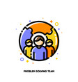 three persons and puzzle for problem solving icon vector image vector image