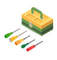 toolbox and screwdrivers isometric construction vector image vector image