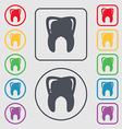Tooth icon sign symbol on the Round and square vector image
