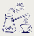 traditional coffeemaker and cup vector image vector image