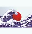 traditional japan wave big red sun japan flag vector image vector image