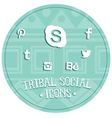 Tribal social icons vector image