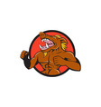 Wild Boar Man Roaring Pumping Chest Circle Cartoon vector image vector image