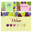 wine party poster with glasses line and grapes vector image vector image
