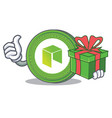 with gift neo coin character cartoon vector image vector image