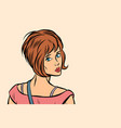 woman looking back over shoulder vector image vector image