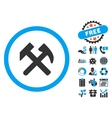 Work Hammers Flat Icon with Bonus vector image vector image