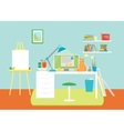 Cartoon Interior Working Place with Furniture vector image