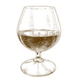engraving of glass with wine vector image