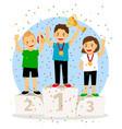 young children winner podium vector image