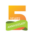 5 years anniversary celebrating logo icon vector image vector image