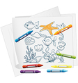 A paper with a doodle design of the different sea vector image vector image