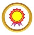 Award rosette with violet ribbon icon vector image vector image