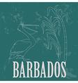 Barbados national symbols Pelican sugarcane Retro vector image vector image