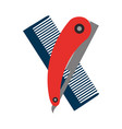 barbershop comb with razor vector image vector image