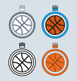 Basketball Balls Icons with Crowns vector image vector image