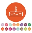 Cake with candles in the form of number 2 icon vector image vector image