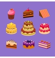 Cakes and Desserts Set vector image vector image