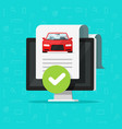 car history check or report document approved on vector image vector image