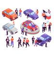 car show room set vector image vector image
