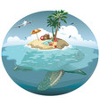 cartoon island on a sea turtle for a vector image vector image