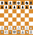 chess checker board with pieces vector image