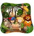 Children and wild animals in jungle vector image
