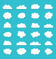 cloud icons in cartoon style white shapes on blue vector image vector image