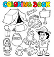 coloring book with camping images vector image