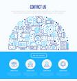 contact us concept in half circle vector image