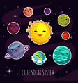 Cute and funny cartoon planets stickers of solar