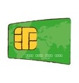 drawing green credit card global bank vector image
