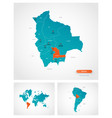 editable template map bolivia with marks vector image vector image