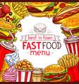 fast food menu for fastfood restaurant vector image vector image