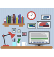 Flat design of modern office interior with vector image vector image