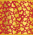 golden red hearts seamless pattern design vector image vector image