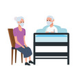 grandparents couple in bedroom scene vector image vector image