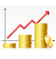 growing pile coins and rising vector image