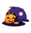 halloween witch hat pumpkin candies night vector image vector image