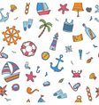 Hand drawn color seamless pattern with nautical vector image vector image