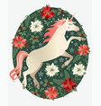 hand drawn unicorn with winter floral background vector image