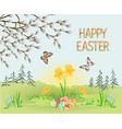 happy easter spring landscape forest narcissus vector image vector image