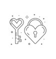 heart key and love lock line icons vector image