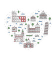i love italy poster in linear style vector image vector image