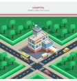 Isometric City Constructor With Hospital Building vector image vector image