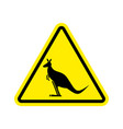kangaroo warning sign wallaby hazard attention vector image vector image