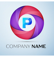 Letter P logo symbol in the colorful circle vector image vector image